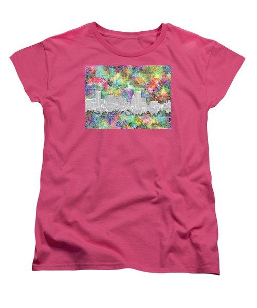 Women's T-Shirt (Standard Cut) featuring the painting Baltimore Skyline Watercolor 12 by Bekim Art