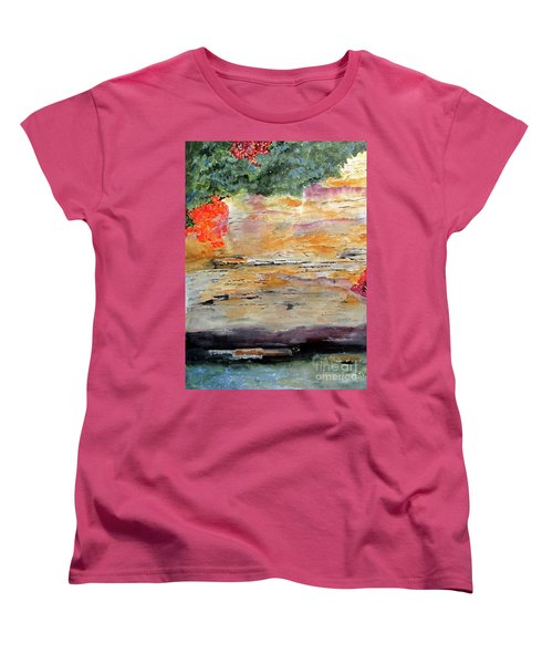 Women's T-Shirt (Standard Cut) featuring the painting Bank Of The Gauley River by Sandy McIntire