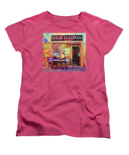 Bar Puccini Lucca Italy Women's T-Shirt (Standard Cut) by Wally Hampton