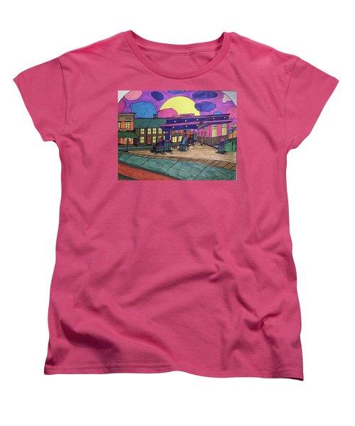 Women's T-Shirt (Standard Cut) featuring the drawing Barkhausen Filling Station. by Jonathon Hansen