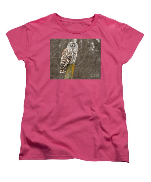 Barred Owl Women's T-Shirt (Standard Cut) by Kathy M Krause