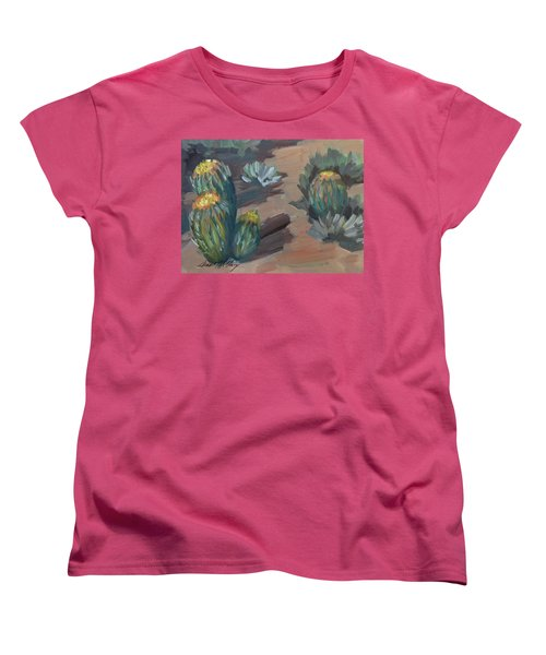 Women's T-Shirt (Standard Cut) featuring the painting Barrel Cactus At Tortilla Flat by Diane McClary