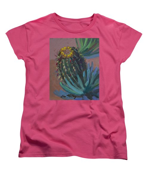 Barrel Cactus In Bloom - Boyce Thompson Arboretum Women's T-Shirt (Standard Cut) by Diane McClary