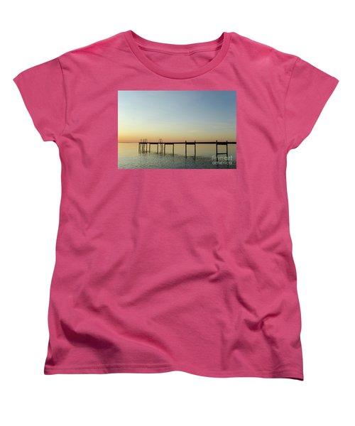Women's T-Shirt (Standard Cut) featuring the photograph Bath Pier Silhouette by Kennerth and Birgitta Kullman