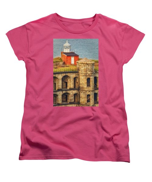 Women's T-Shirt (Standard Cut) featuring the photograph Battery Weed At Fort Wadsworth Nyc by Susan Candelario