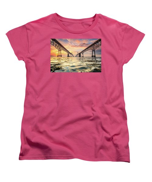 Women's T-Shirt (Standard Cut) featuring the photograph Bay Bridge Impression by Jennifer Casey