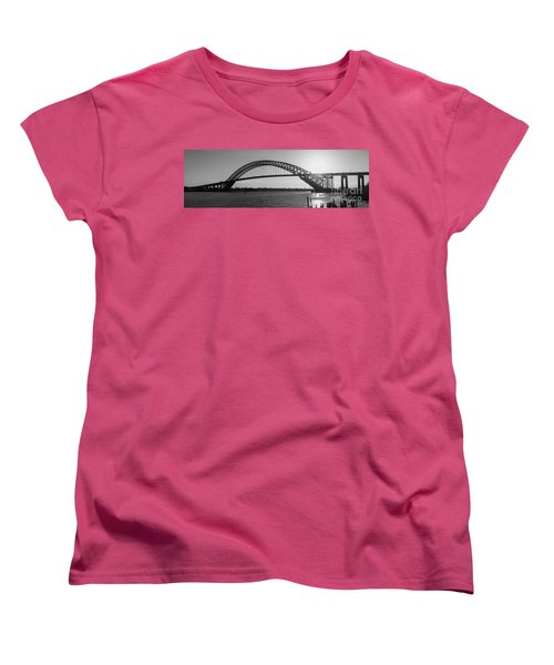 Bayonne Bridge Panorama Bw Women's T-Shirt (Standard Cut)