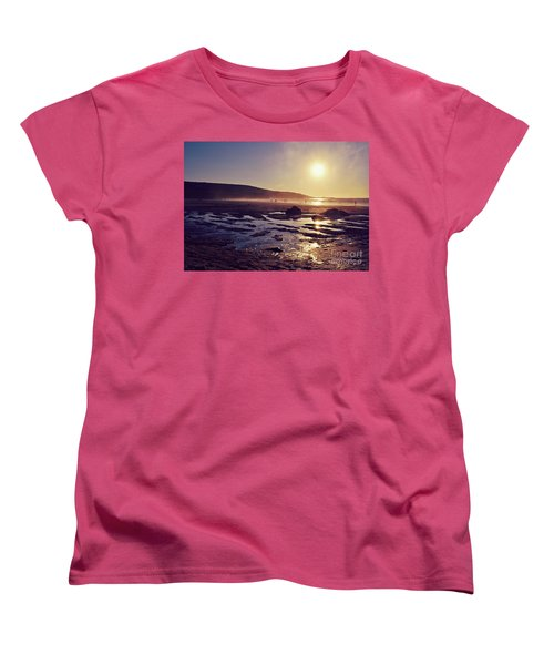 Women's T-Shirt (Standard Cut) featuring the photograph Beach At Sunset by Lyn Randle