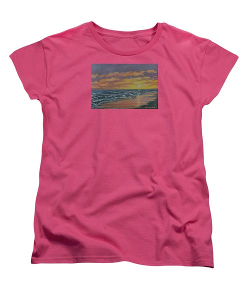 Women's T-Shirt (Standard Cut) featuring the painting Beach Glow by Kathleen McDermott