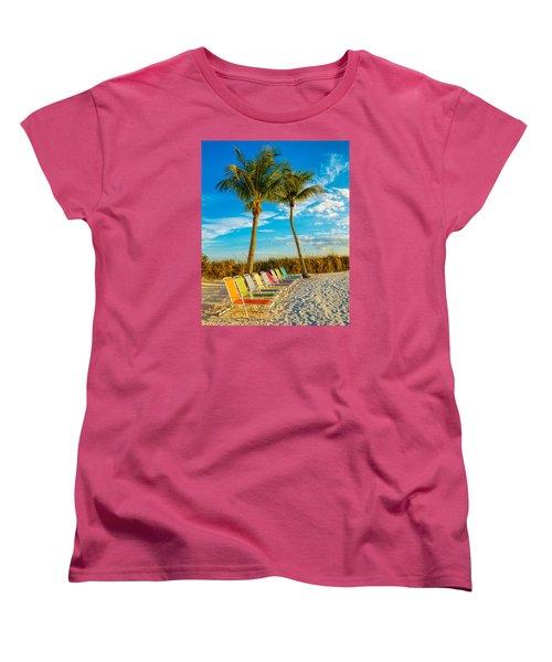 Beach Lounges Under Palms Women's T-Shirt (Standard Cut) by Robert FERD Frank