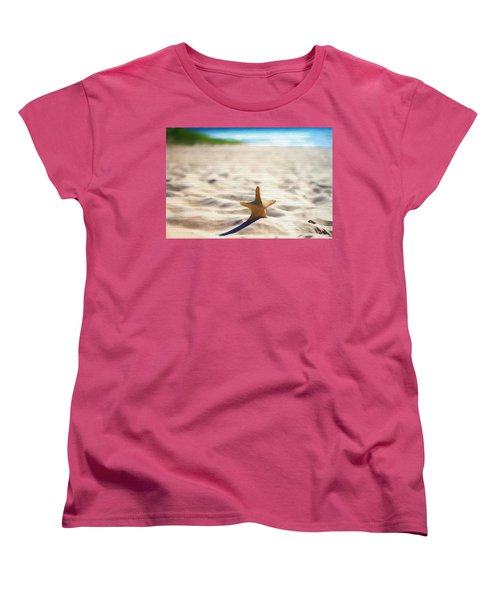 Beach Starfish Wood Texture Women's T-Shirt (Standard Cut) by Dan Sproul
