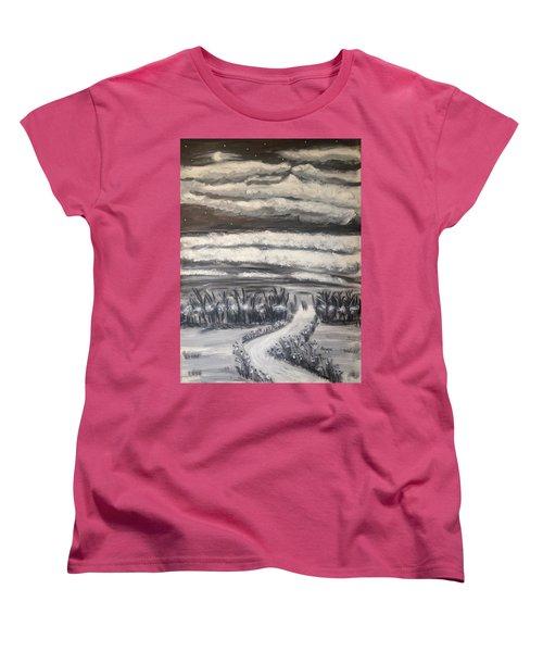Women's T-Shirt (Standard Cut) featuring the painting Beach Walk by Diane Pape
