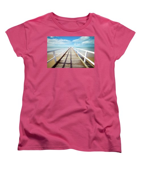 Women's T-Shirt (Standard Cut) featuring the photograph Beach Walk by MGL Meiklejohn Graphics Licensing