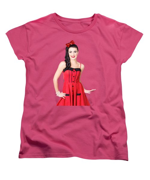Women's T-Shirt (Standard Cut) featuring the photograph Beautiful Pinup Girl With Pretty Smile by Jorgo Photography - Wall Art Gallery