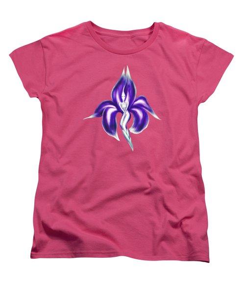 Beautiful Purple Dancing Lady Flower Artistic Illustration Art Photo Print Women's T-Shirt (Standard Cut) by Awen Fine Art Prints
