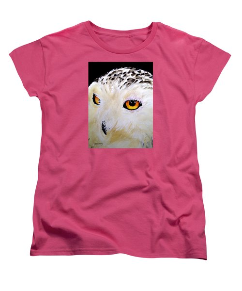Women's T-Shirt (Standard Cut) featuring the painting Beautiful Snowy Owl by Carol Grimes