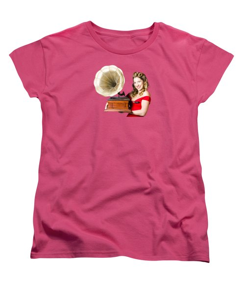Beautiful Woman With Gramophone Isolated On White Women's T-Shirt (Standard Cut) by Jorgo Photography - Wall Art Gallery