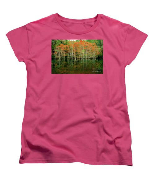 Beaver's Bend Cypress All In A Row Women's T-Shirt (Standard Cut) by Tamyra Ayles