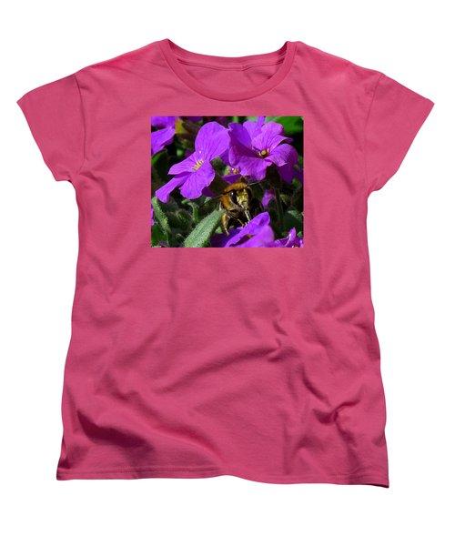 Bee Feeding On Purple Flower Women's T-Shirt (Standard Cut) by John Topman