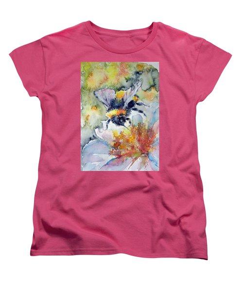 Bee On Flower Women's T-Shirt (Standard Cut) by Kovacs Anna Brigitta