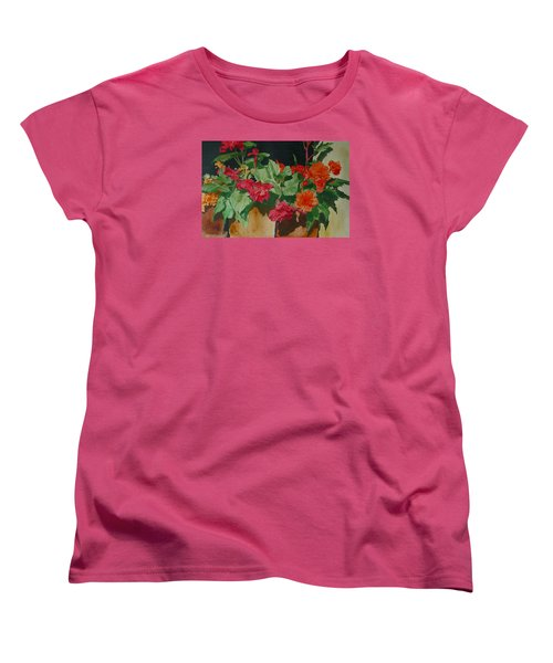 Begonias Flowers Colorful Original Painting Women's T-Shirt (Standard Cut) by Elizabeth Sawyer