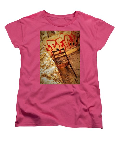 Beirut Graffiti With A Lonely Chair  Women's T-Shirt (Standard Cut) by Funkpix Photo Hunter