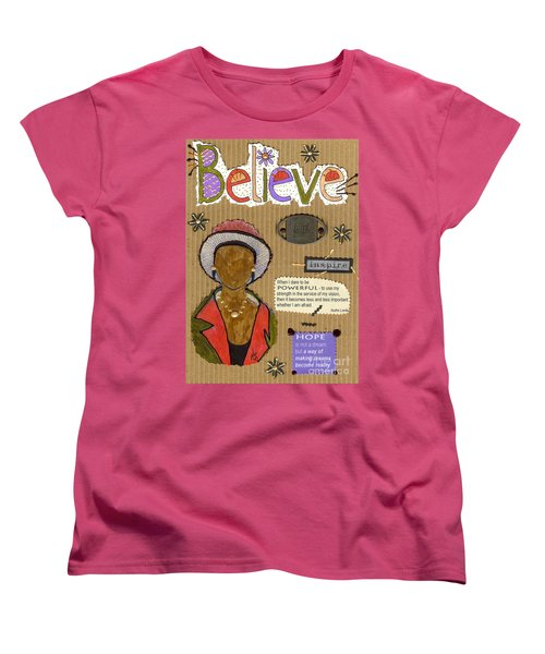 Women's T-Shirt (Standard Cut) featuring the mixed media Believe Me by Angela L Walker