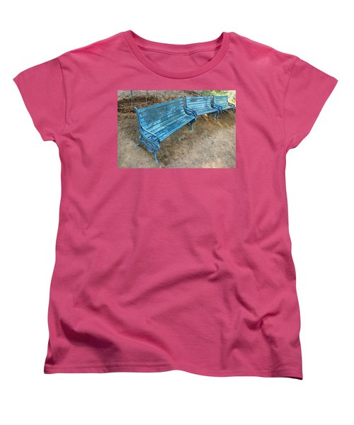 Women's T-Shirt (Standard Cut) featuring the photograph Benches And Blues by Prakash Ghai