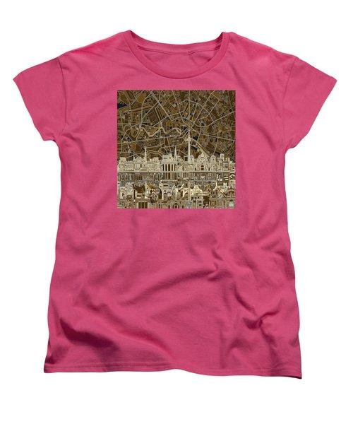 Berlin City Skyline Abstract Brown Women's T-Shirt (Standard Cut) by Bekim Art