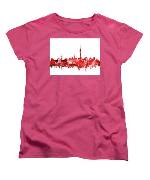Berlin City Skyline Red Women's T-Shirt (Standard Cut) by Bekim Art
