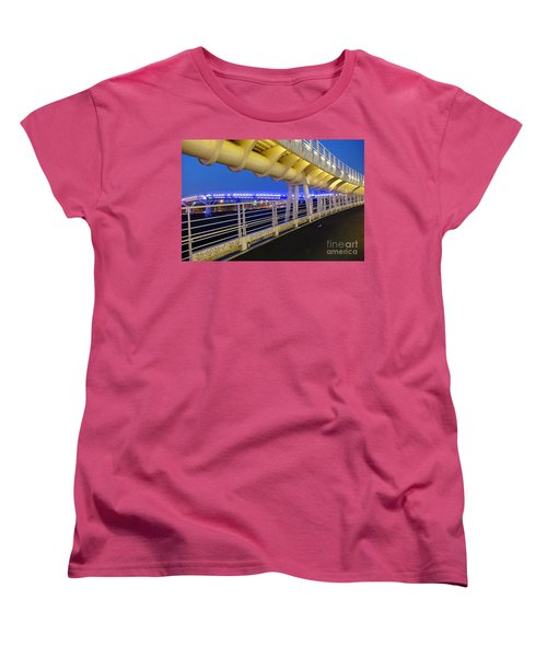 Women's T-Shirt (Standard Cut) featuring the photograph Bicycle And Pedestrian Overpass by Yali Shi