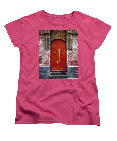 Women's T-Shirt (Standard Cut) featuring the photograph Big Red Doors by Perry Webster