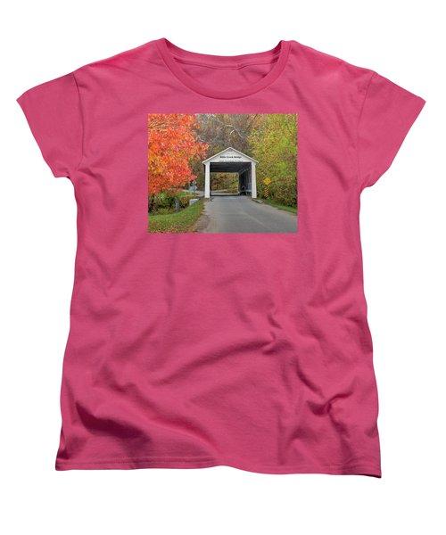 Billie Creek Covered Bridge Women's T-Shirt (Standard Cut) by Harold Rau