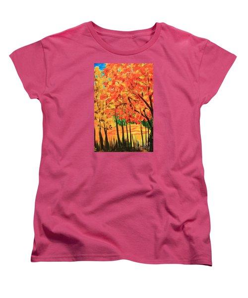 Birch Tree /autumn Leaves Women's T-Shirt (Standard Cut) by Nancy Czejkowski