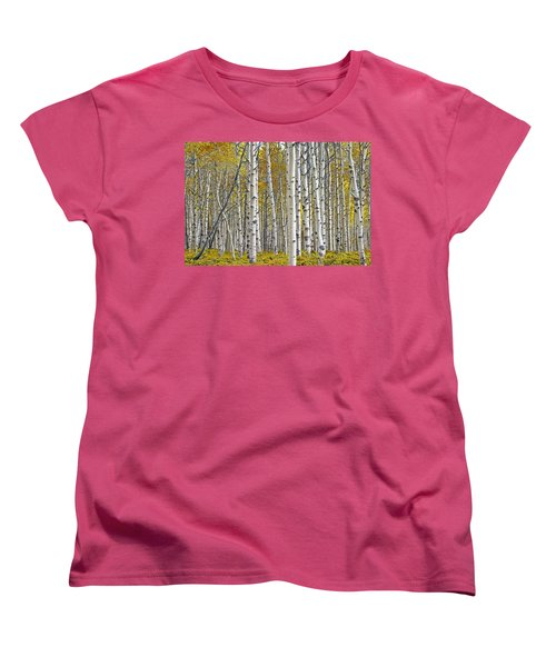 Birch Tree Grove With A Touch Of Yellow Color Women's T-Shirt (Standard Cut)