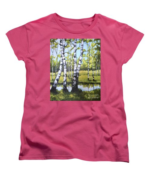 Women's T-Shirt (Standard Cut) featuring the painting Birches In Spring Mood by Inese Poga