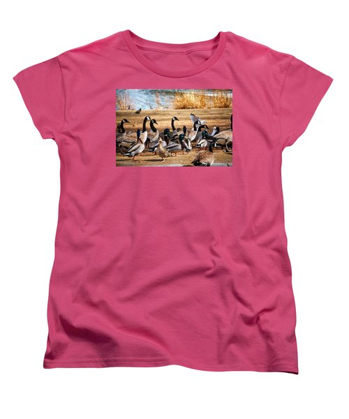 Women's T-Shirt (Standard Cut) featuring the photograph Bird Gang Wars by Sumoflam Photography