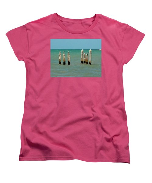 Women's T-Shirt (Standard Cut) featuring the painting Birds On Sticks by David  Van Hulst