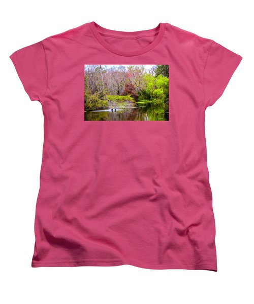 Women's T-Shirt (Standard Cut) featuring the photograph Birds Playing In The Pond 3 by Madeline Ellis