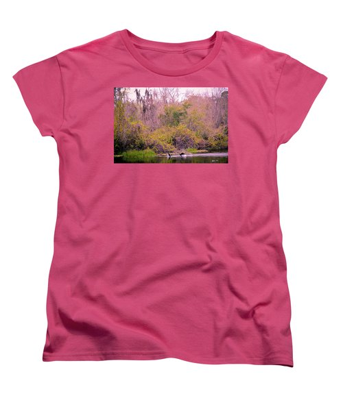 Women's T-Shirt (Standard Cut) featuring the photograph Birds Playing In The Pond 1 by Madeline Ellis