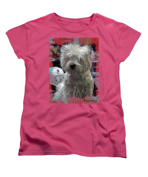 Women's T-Shirt (Standard Cut) featuring the photograph Bishon Frise by EricaMaxine  Price