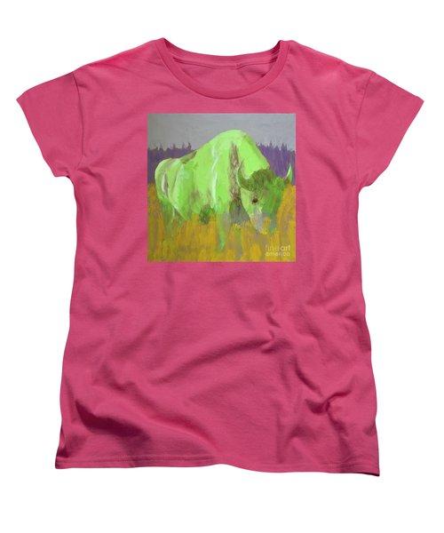Bison On The American Plains Women's T-Shirt (Standard Cut) by Donald J Ryker III