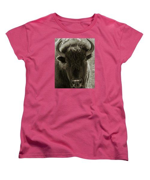 Bison Surprise Women's T-Shirt (Standard Cut) by Elizabeth Eldridge