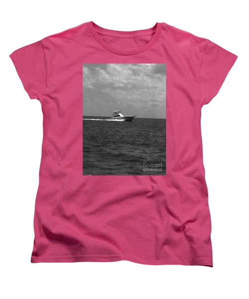 Black And White Boating Women's T-Shirt (Standard Cut)