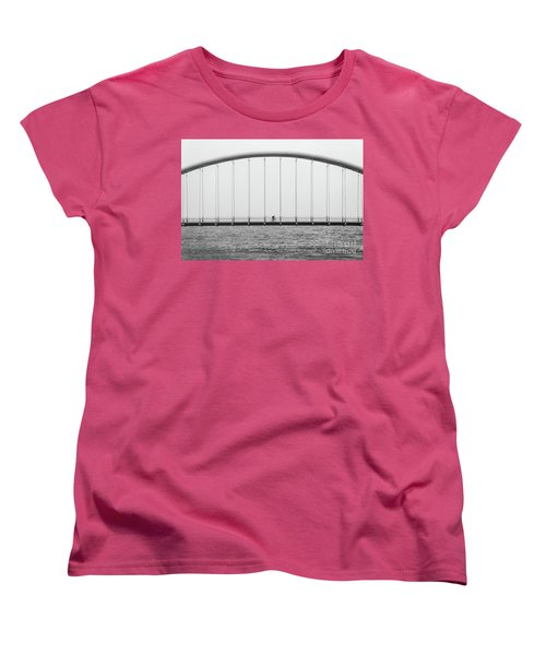 Women's T-Shirt (Standard Cut) featuring the photograph Black And White Bridge by MGL Meiklejohn Graphics Licensing