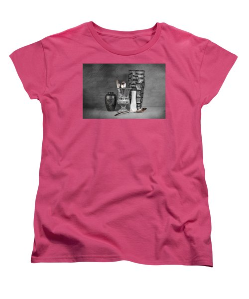 Women's T-Shirt (Standard Cut) featuring the photograph Black And White Composition by Tom Mc Nemar