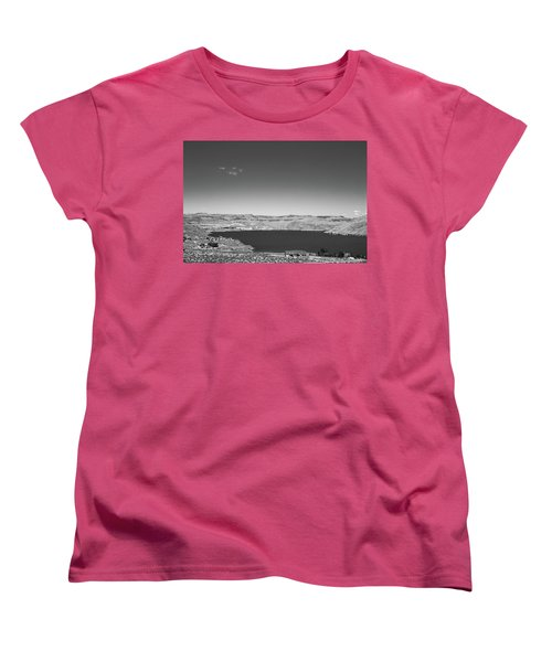 Black And White Landscape Photo Of Dry Glacia Ancian Rock Desert Women's T-Shirt (Standard Cut)