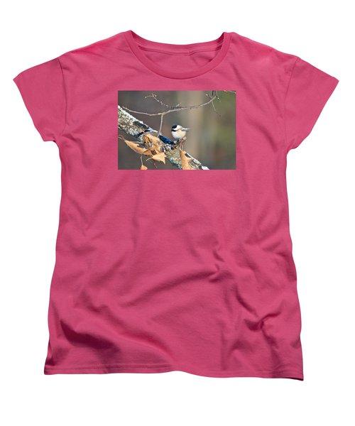 Black Capped Chickadee 1134 Women's T-Shirt (Standard Cut) by Michael Peychich