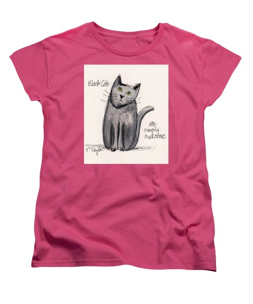 Women's T-Shirt (Standard Cut) featuring the painting Black Cats Are Simply Awesome by Terry Taylor