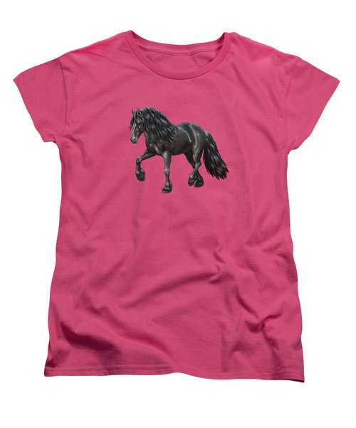 Black Friesian Horse In Snow Women's T-Shirt (Standard Cut) by Crista Forest